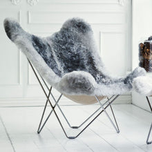 Load image into Gallery viewer, Sheepskin Butterfly Chair - Iceland Mariposa Natural Grey