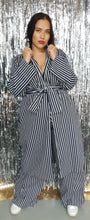Load image into Gallery viewer, Denim navy stripe coat