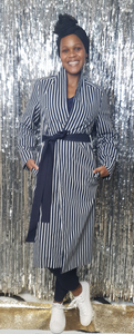 Denim navy stripe coat
