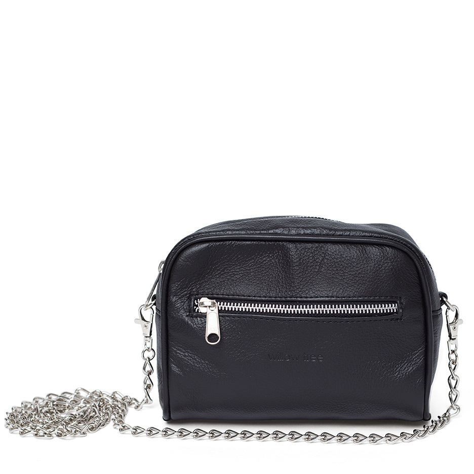 2 in 1 Leather Chain Sling/Belt Bag - Black