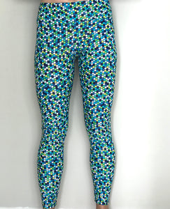 Yoga Leggings - Blue Honeycomb