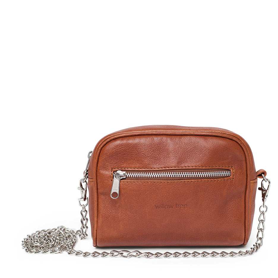 2 in 1 Leather Chain Sling/Belt Bag - Tan