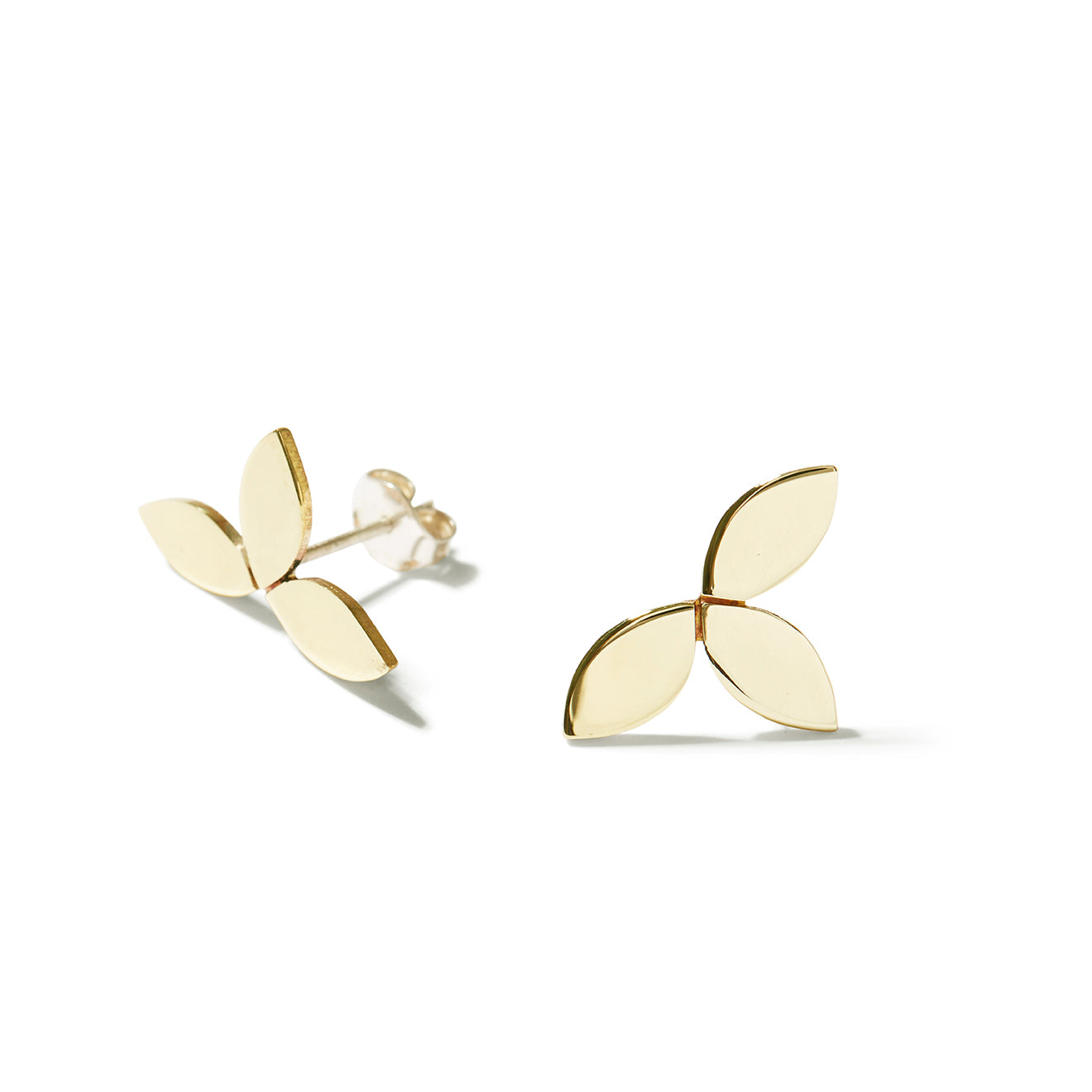 Trilogy Leaf Studs - Brass