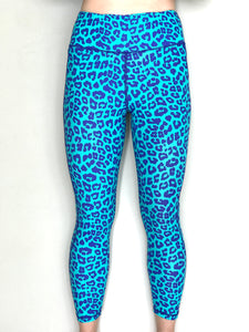 Gym Leggings - Turquoise Leopard