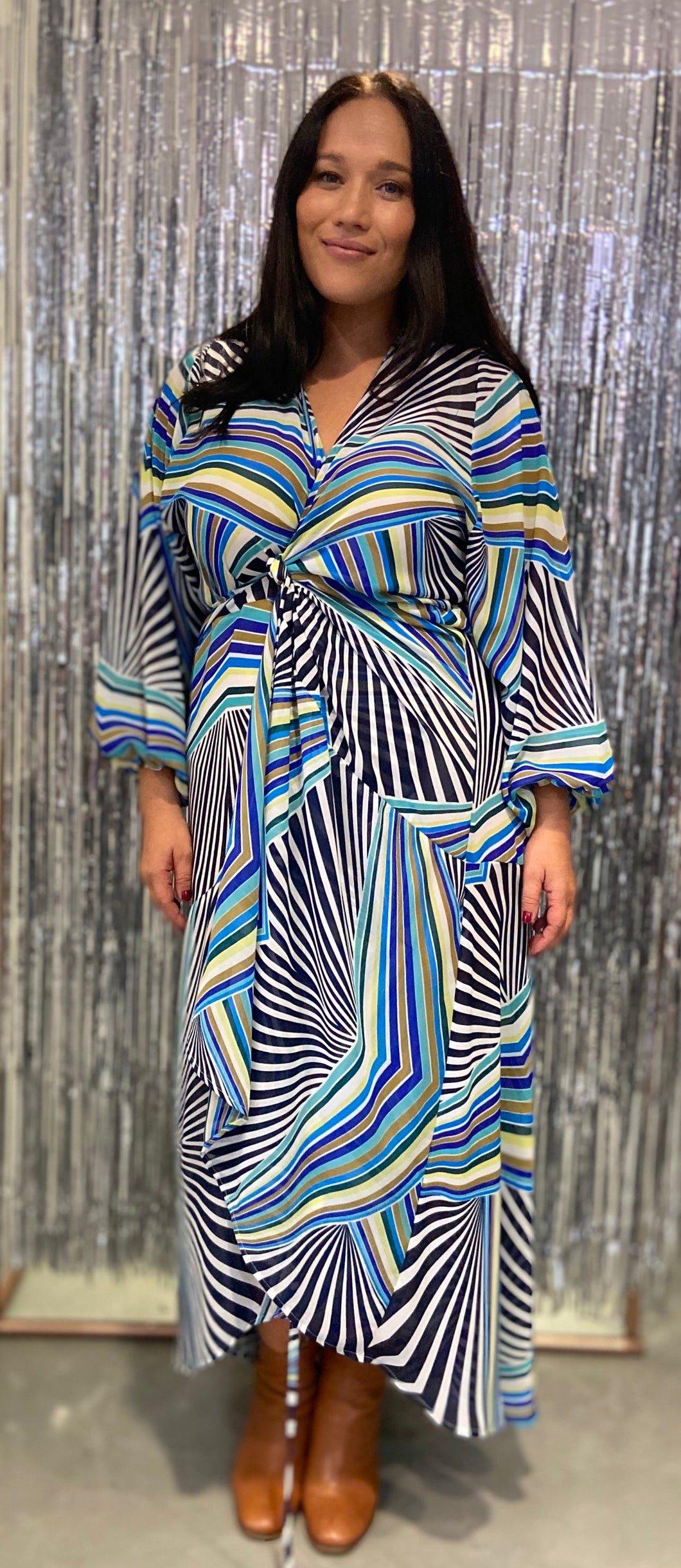 Therapy Multi Tie Wrap Dress Blue Print