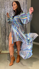 Load image into Gallery viewer, Therapy Multi Tie Wrap Dress Blue Print
