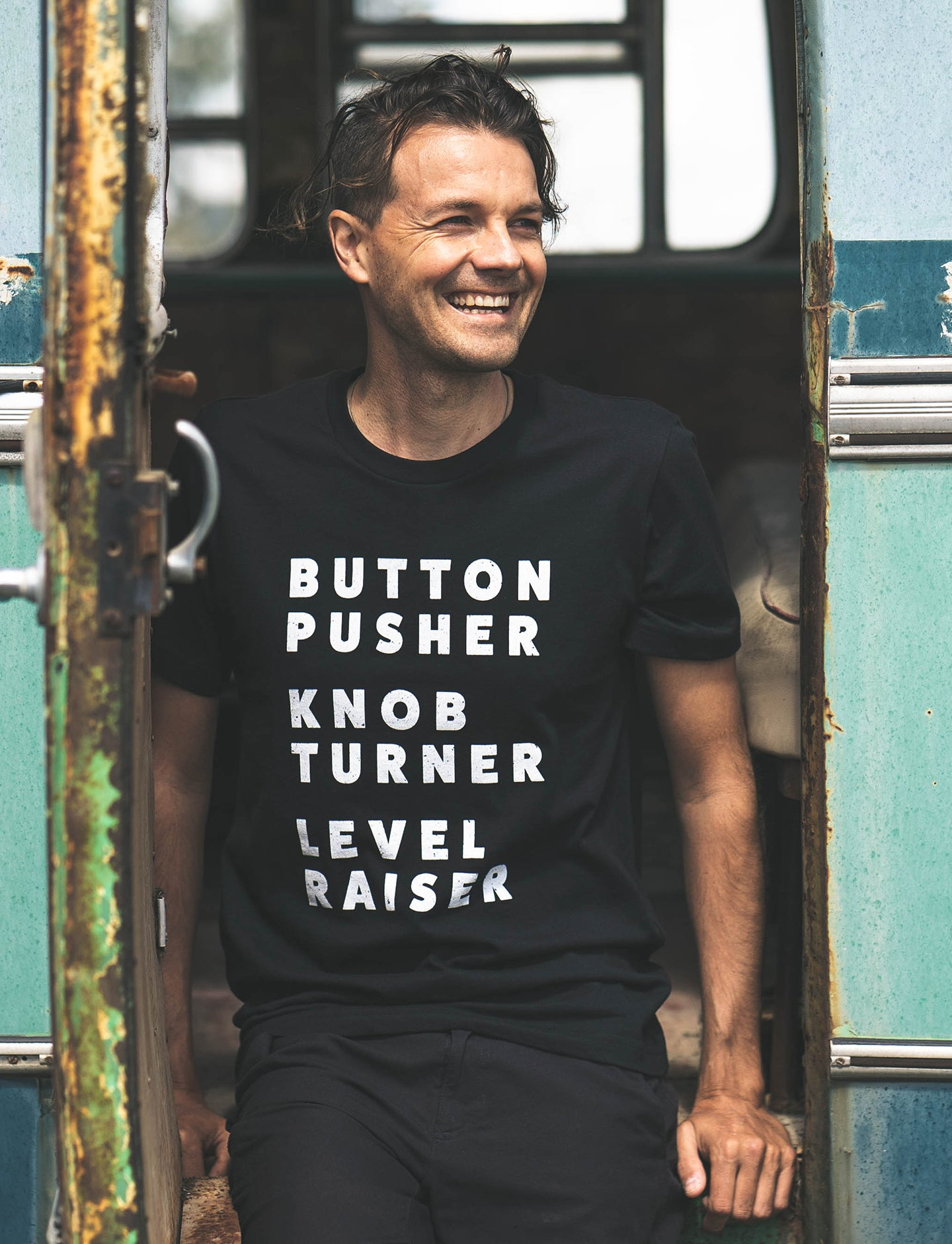 f708a33e92 Button Pusher Unisex T-Shirt in Black & Black Heather - Free Shipping!