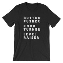Load image into Gallery viewer, Button Pusher Unisex T-Shirt in Black & Black Heather - Free Shipping!