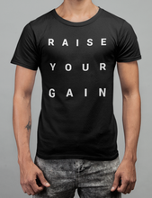 Load image into Gallery viewer, Raise Your Gain Unisex Shirt in Black, Heather Black & White - Free Shipping!