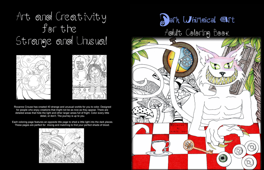 June 16 A Look Inside My Dark Whimsical Art Adult Coloring Book #coloringbook