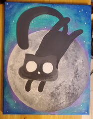 Last full moon of 2019 with friday the 13th black cat