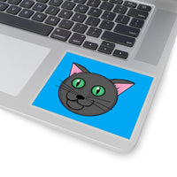 Fun Cartoon Grey Kitty with green eyes Kiss-Cut Stickers