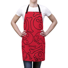 Load image into Gallery viewer, Red Skulls and Bones Apron For Cooking or Art