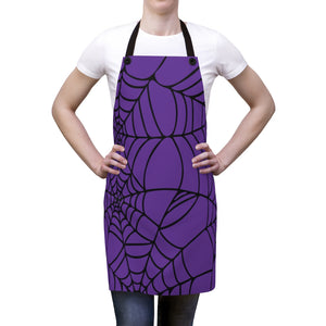 Halloween Purple with Spider Webs Apron For Arting or Cooking