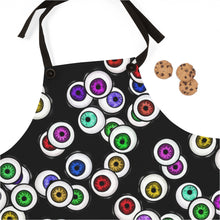 Load image into Gallery viewer, Black Apron with Eyeballs Everywhere For Cooking or Art