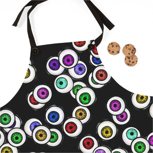 Black Apron with Eyeballs Everywhere For Cooking or Art