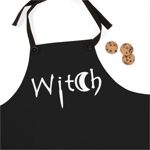 Black with the Word Witch in White Apron For Cooking or Art