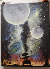 Load image into Gallery viewer, Space and Robot Glow In The Dark Acrylic Painting Dark Whimsical Art Roxanne Crouse