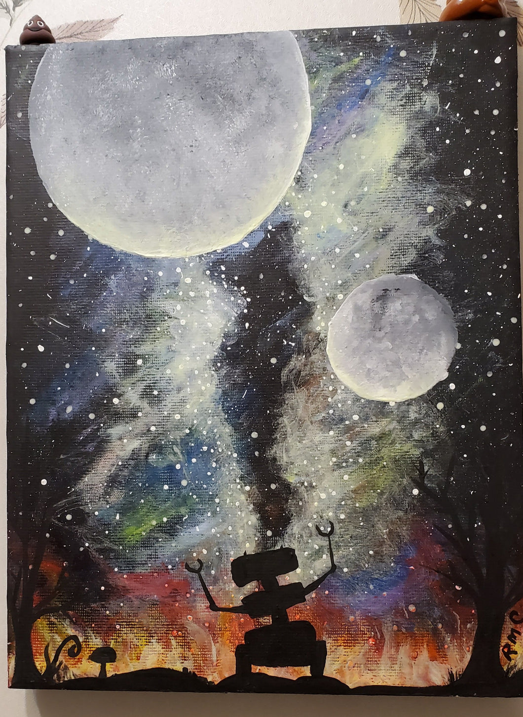 Space and Robot Glow In The Dark Acrylic Painting Dark Whimsical Art Roxanne Crouse