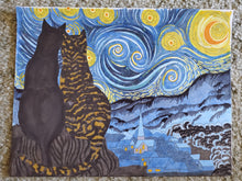 Load image into Gallery viewer, Starry Kitties Parody of Starry Night Printable Adult Coloring Page