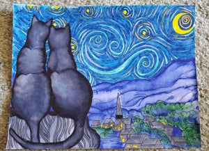 Starry Kitties Parody of Starry Night Printable Adult Coloring Page