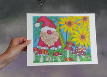 Load image into Gallery viewer, Garden Gnome Signed Print Artwork by The Spooky Cat Lady