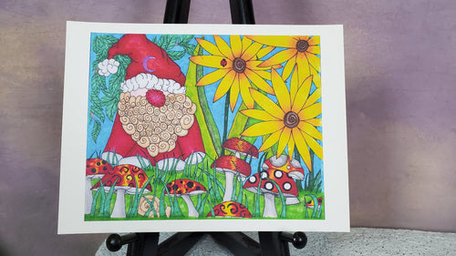 Garden Gnome Signed Print Artwork by The Spooky Cat Lady