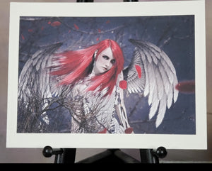 Red Angel Gothic Art Print Signed by Artist