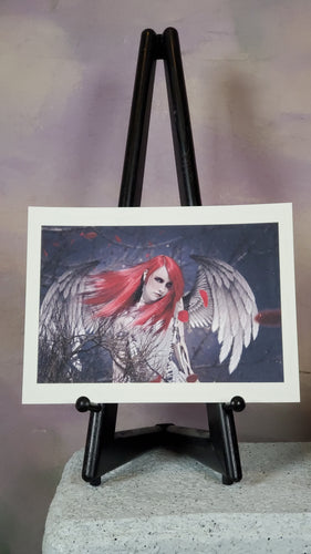 Red Angel Gothic Art Print Signed by Artist 9x12