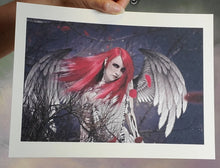 Load image into Gallery viewer, Red Angel Gothic Art Print Signed by Artist