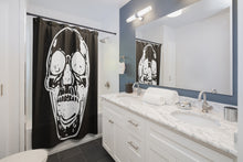 Load image into Gallery viewer, Black with White Screaming Skull Shower Curtains