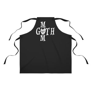 Black Apron with Goth mom in White Skull Apron