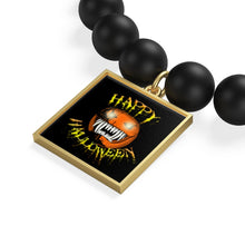 Load image into Gallery viewer, Happy Halloween Scary Pumpkin Matte Onyx Bracelet
