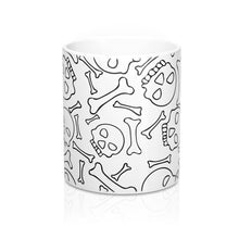 Load image into Gallery viewer, Skull and Bones Black and White Coffee Mug 11oz