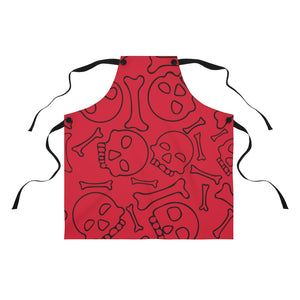 Red Skulls and Bones Apron For Cooking or Art