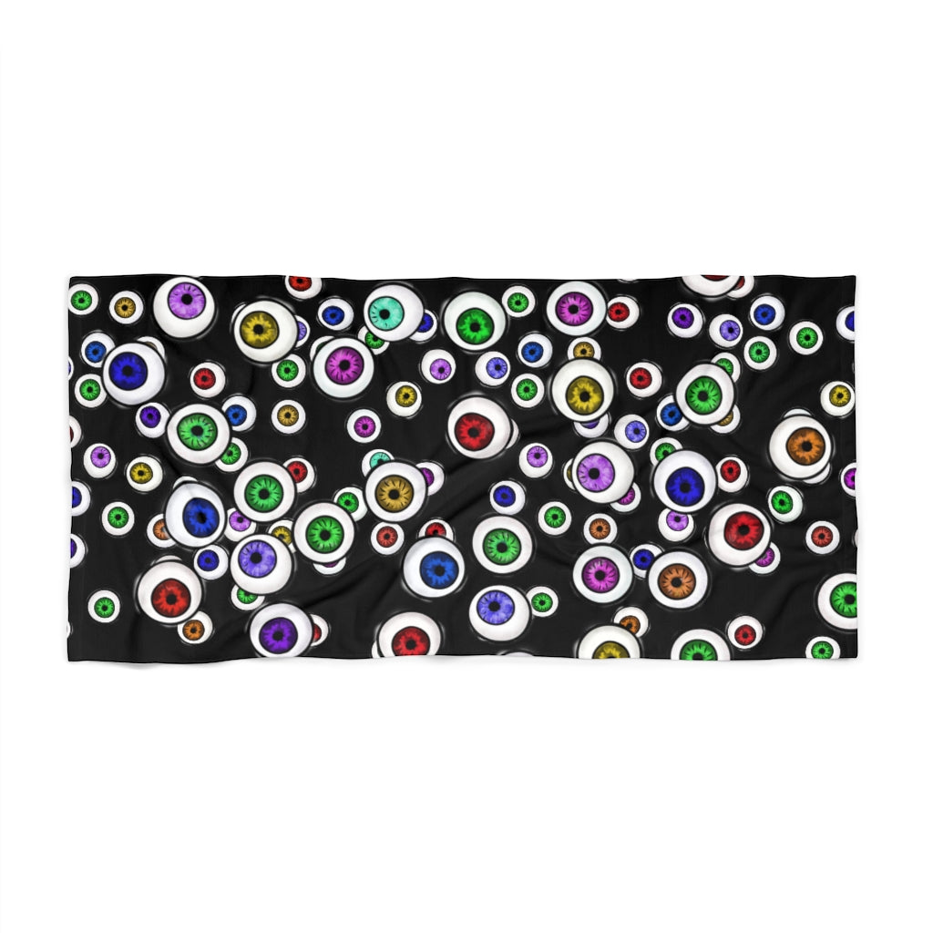 Goth Home Decor Eyeballs Everywhere Halloween Beach Towel