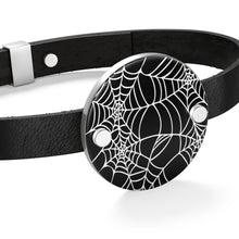 Load image into Gallery viewer, Black and White Goth circle Shaped Spider Web Leather Bracelet For Your Goth Outfit