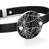 Black and White Heart Shaped Spider Web Leather Bracelet