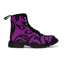 Load image into Gallery viewer, Black and Purple Ghost Women's Goth Fashion Canvas Boots
