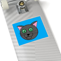 Fun Cartoon Grey Kitty with green eyes Kiss-Cut Stickers on skate board