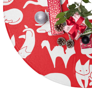 Cute Cats Playing Christmas Tree Skirts