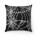 Black and White Halloween Spider Web Spun Polyester Square Pillow