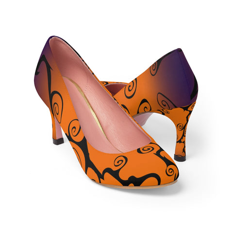 Halloween Shoes Black, Purple and Orange  Swirl Women's High Heels