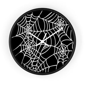Halloween Decoration Black and white  spider web Wall clock white arms