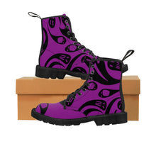 Load image into Gallery viewer, Purple and black Halloween Goth ghost shoes boots