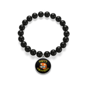 Happy Halloween Scary Pumpkin Matte Onyx Bracelet