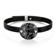 Load image into Gallery viewer, Black and White Goth Heart Shaped Spider Web Leather Bracelet For Your Goth Outfit