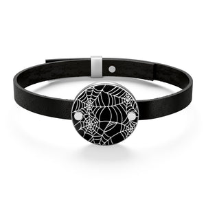 Black and White Goth Heart Shaped Spider Web Leather Bracelet For Your Goth Outfit