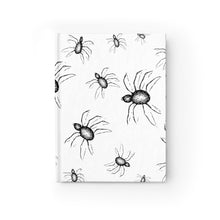 Load image into Gallery viewer, Dark Whimsical Art Halloween Journal Black and white spider web Design  - Ruled Line top view