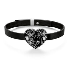 Load image into Gallery viewer, Black and White Heart Shaped Spider Web Leather Bracelet